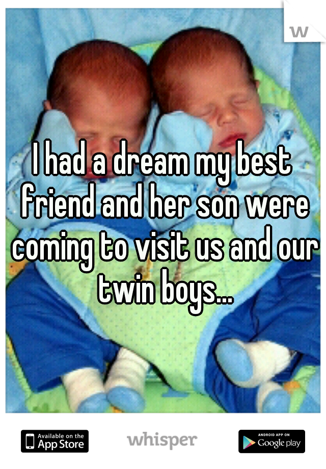 I had a dream my best friend and her son were coming to visit us and our twin boys...