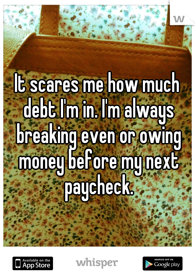 It scares me how much debt I'm in. I'm always breaking even or owing money before my next paycheck.