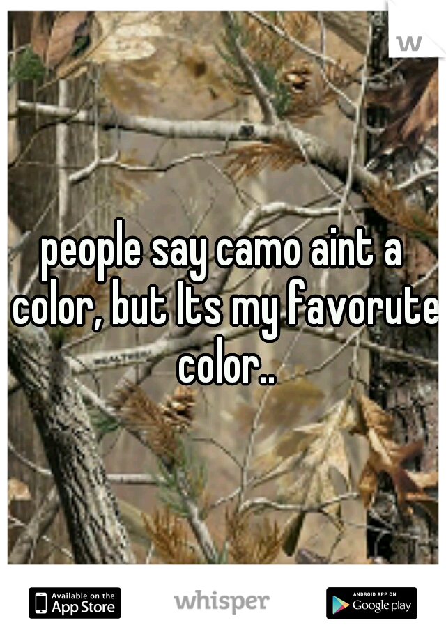 people say camo aint a color, but Its my favorute color..