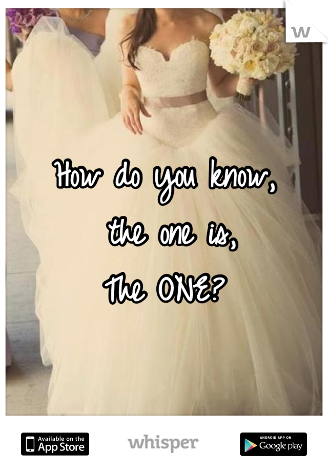 How do you know,  the one is, The ONE?