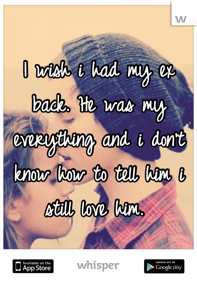 I wish i had my ex back. He was my everything and i don't know how to tell him i still love him.