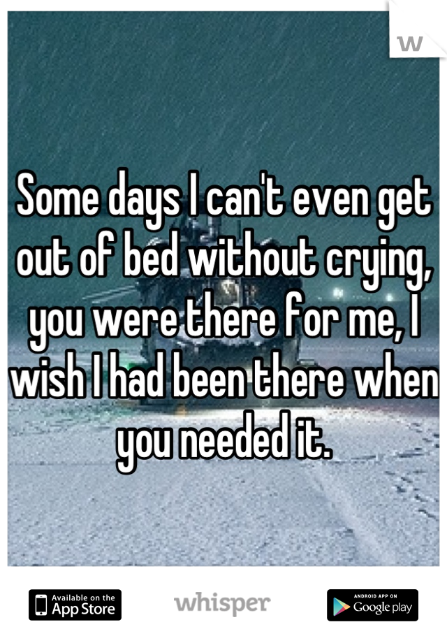 Some days I can't even get out of bed without crying, you were there for me, I wish I had been there when you needed it.