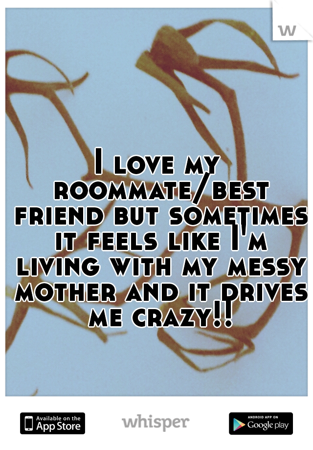 I love my roommate/best friend but sometimes it feels like I'm living with my messy mother and it drives me crazy!!