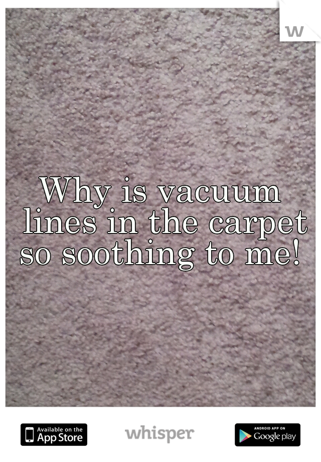 Why is vacuum lines in the carpet so soothing to me!