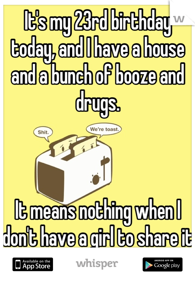 It's my 23rd birthday today, and I have a house and a bunch of booze and drugs.     It means nothing when I don't have a girl to share it with. /-: