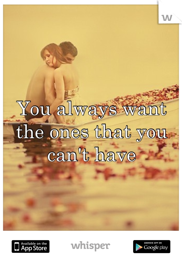 You always want the ones that you can't have
