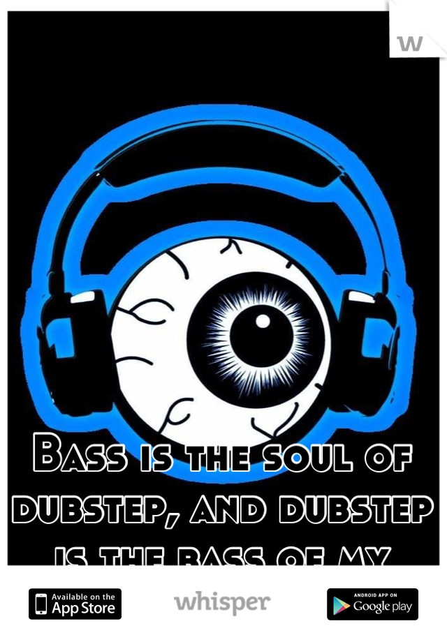 Bass is the soul of dubstep, and dubstep is the bass of my soul.