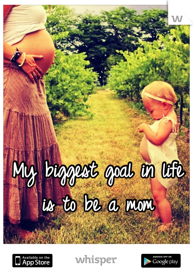 My biggest goal in life is to be a mom