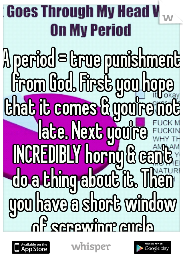 A period = true punishment from God. First you hope that it comes & you're not late. Next you're INCREDIBLY horny & can't do a thing about it. Then you have a short window of screwing; cycle repeats.