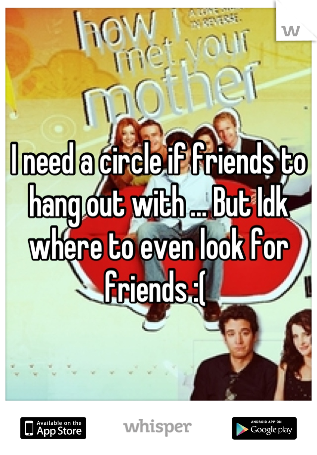 I need a circle if friends to hang out with ... But Idk where to even look for friends :(