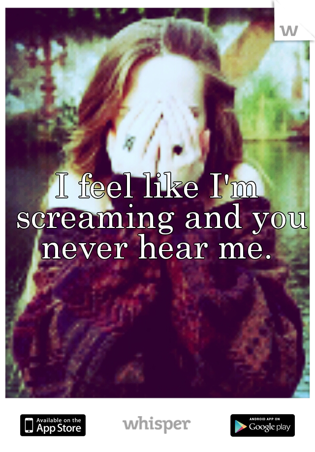 I feel like I'm screaming and you never hear me.