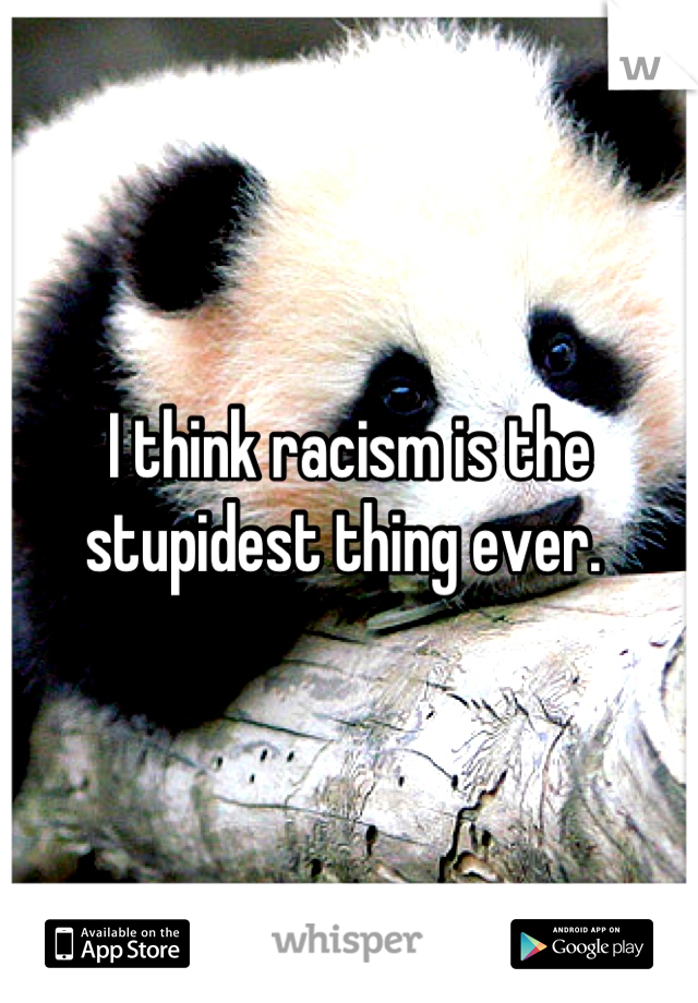 I think racism is the stupidest thing ever.