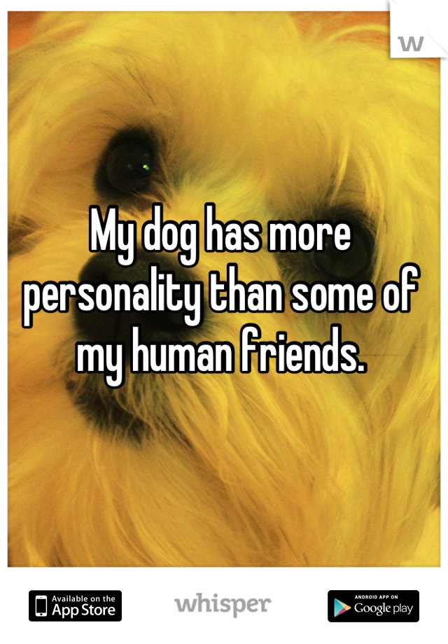 My dog has more personality than some of my human friends.