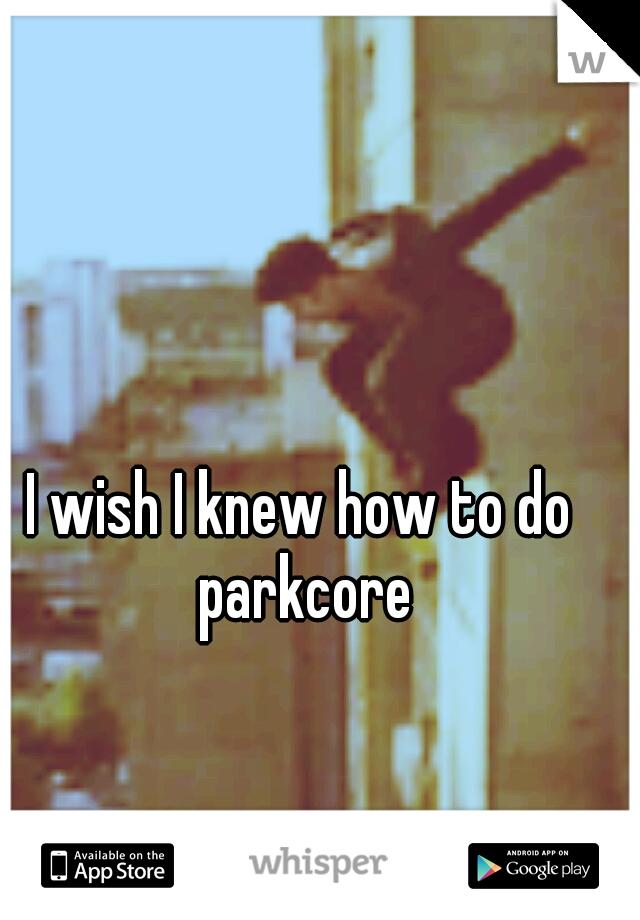 I wish I knew how to do parkcore