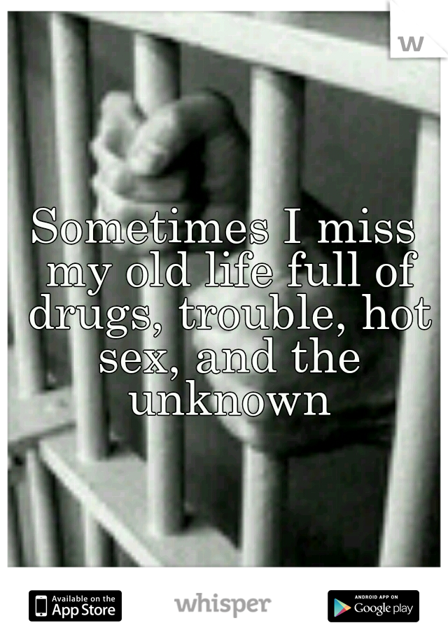 Sometimes I miss my old life full of drugs, trouble, hot sex, and the unknown