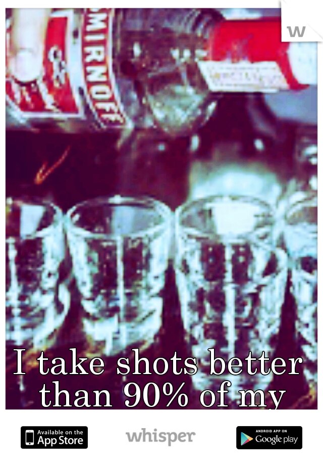 I take shots better than 90% of my friends.