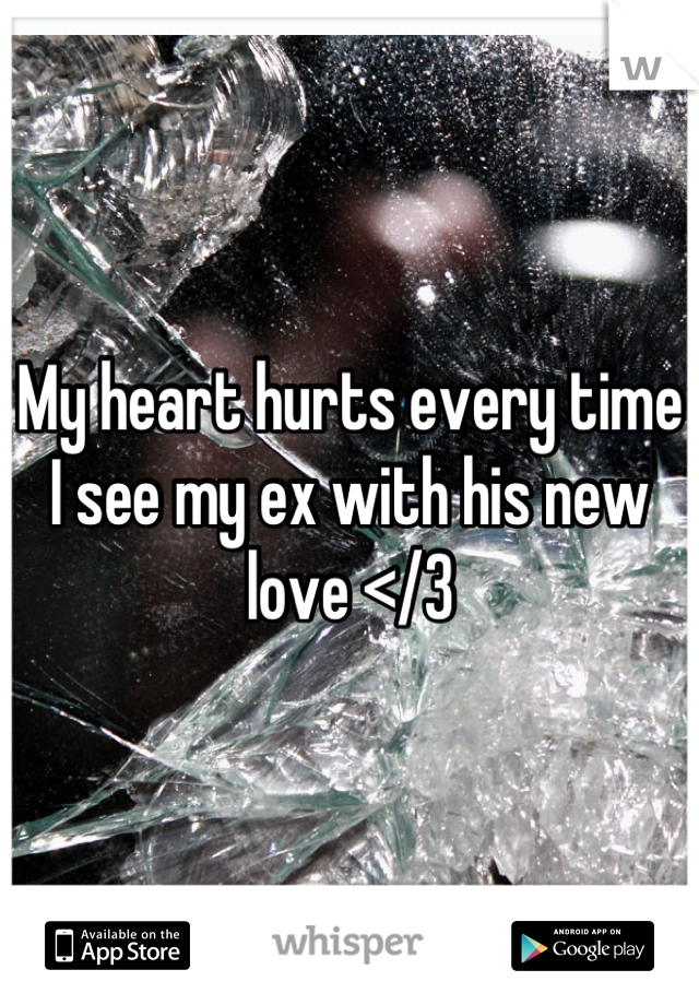 My heart hurts every time I see my ex with his new love </3