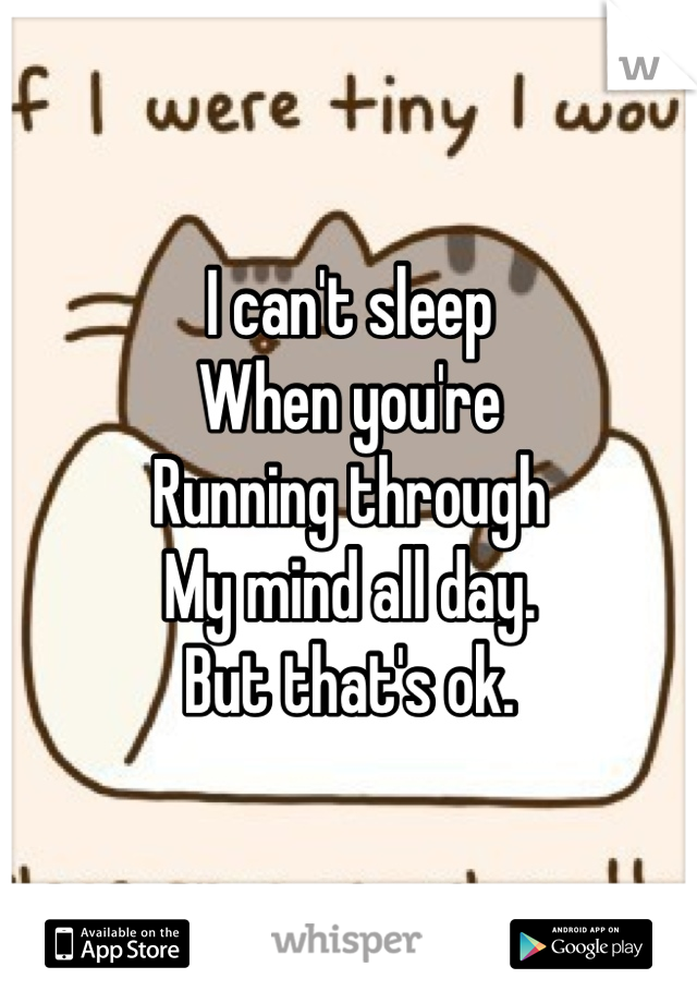 I can't sleep When you're  Running through My mind all day. But that's ok.