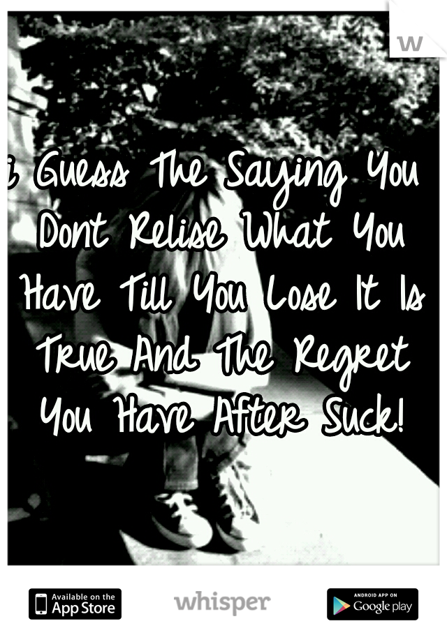 i Guess The Saying You Dont Relise What You Have Till You Lose It Is True And The Regret You Have After Suck!