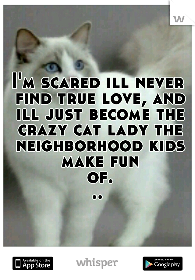 I'm scared ill never find true love, and ill just become the crazy cat lady the neighborhood kids make fun of...