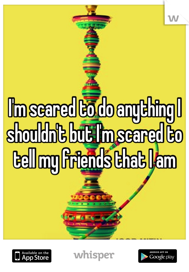 I'm scared to do anything I shouldn't but I'm scared to tell my friends that I am