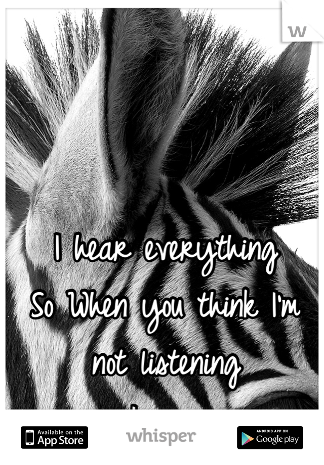 I hear everything So When you think I'm not listening  I am