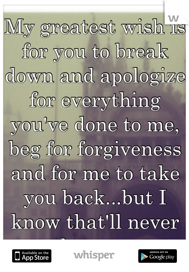 My greatest wish is for you to break down and apologize for everything you've done to me, beg for forgiveness and for me to take you back...but I know that'll never happen