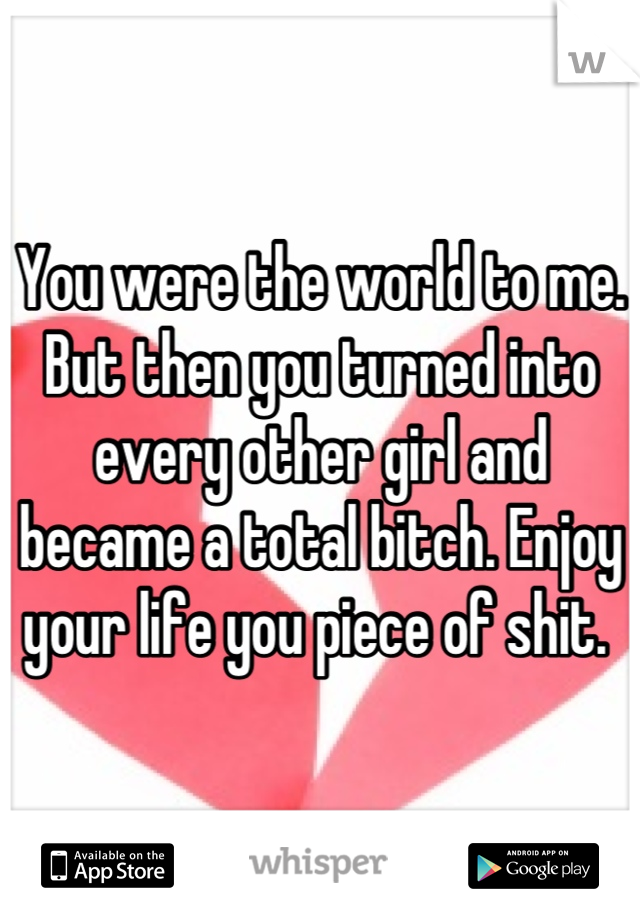 You were the world to me. But then you turned into every other girl and became a total bitch. Enjoy your life you piece of shit.