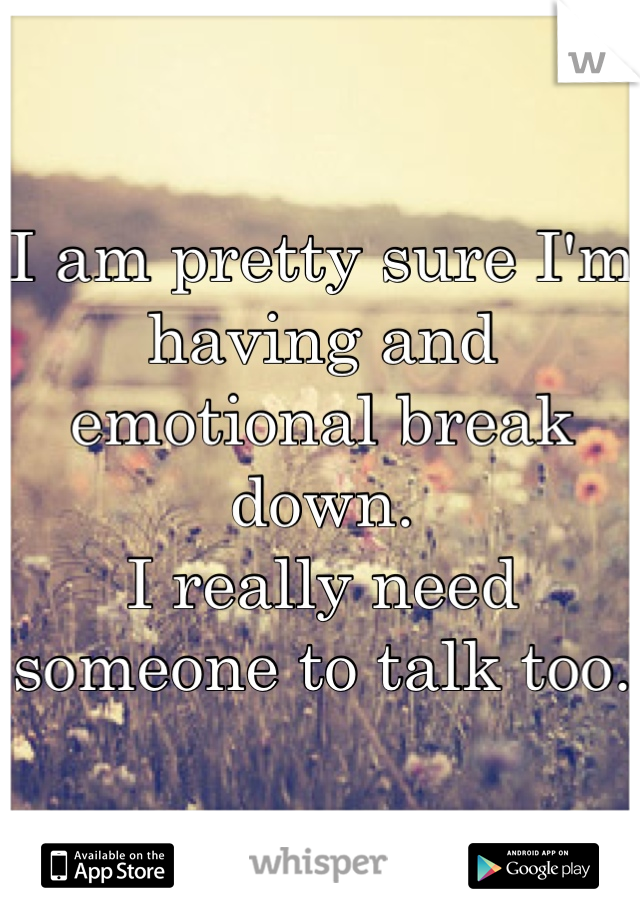 I am pretty sure I'm having and emotional break down.  I really need someone to talk too.