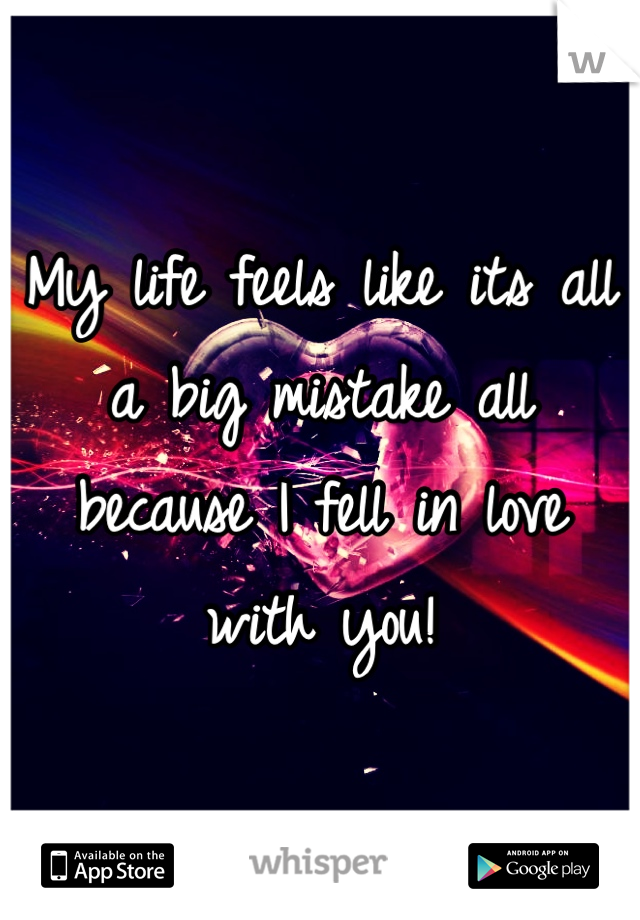 My life feels like its all a big mistake all because I fell in love with you!
