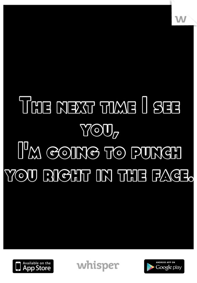 The next time I see you, I'm going to punch you right in the face.