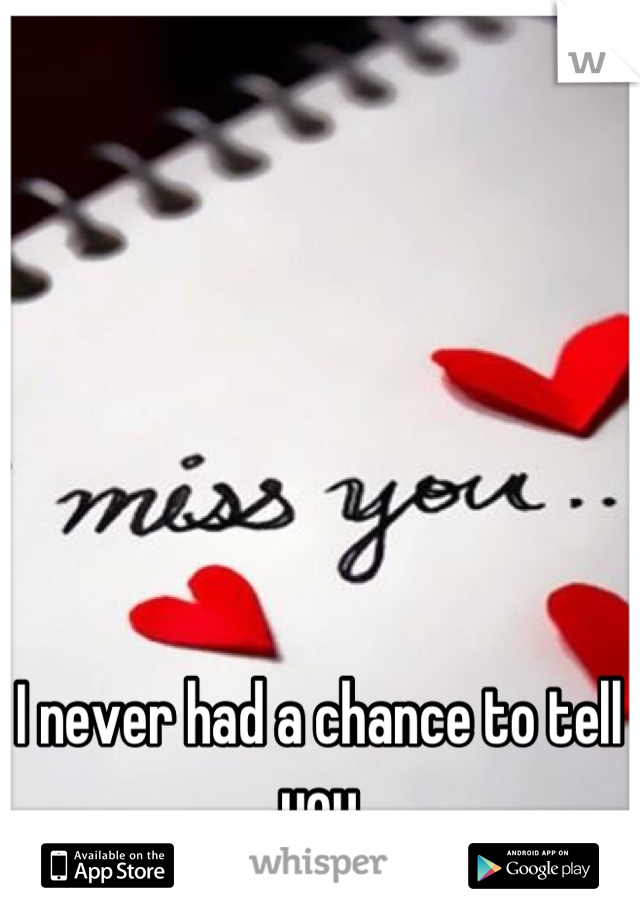 I never had a chance to tell you