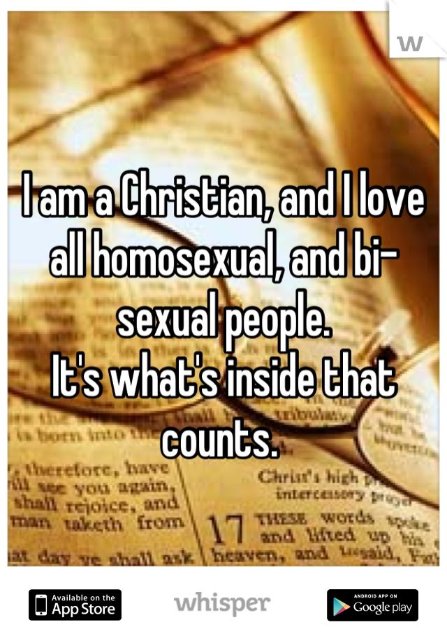 I am a Christian, and I love all homosexual, and bi-sexual people.  It's what's inside that counts.
