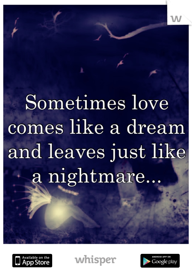 Sometimes love comes like a dream and leaves just like a nightmare...