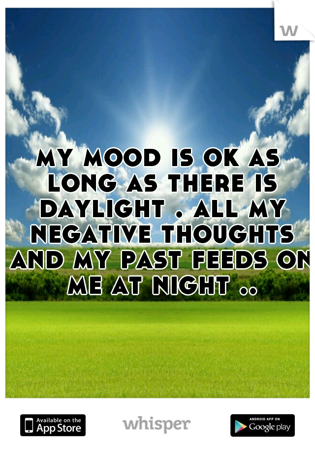 my mood is ok as long as there is daylight . all my negative thoughts and my past feeds on me at night ..