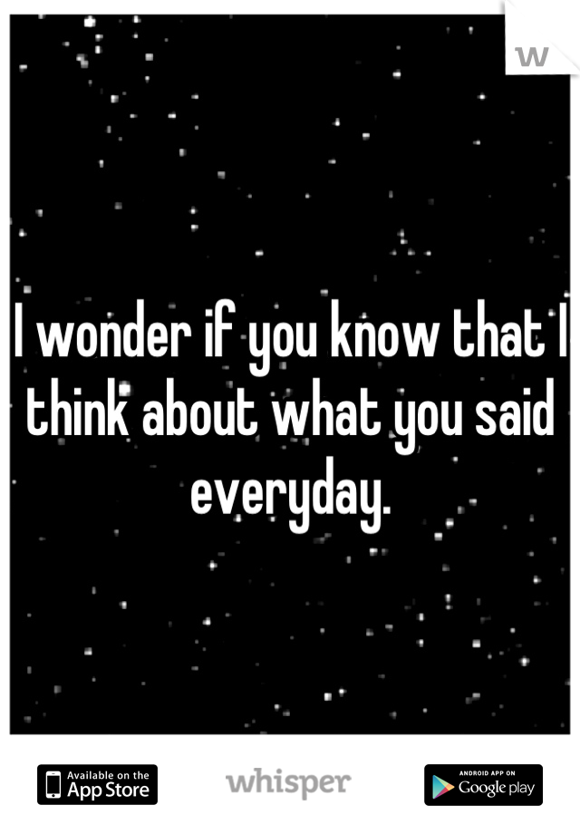 I wonder if you know that I think about what you said everyday.