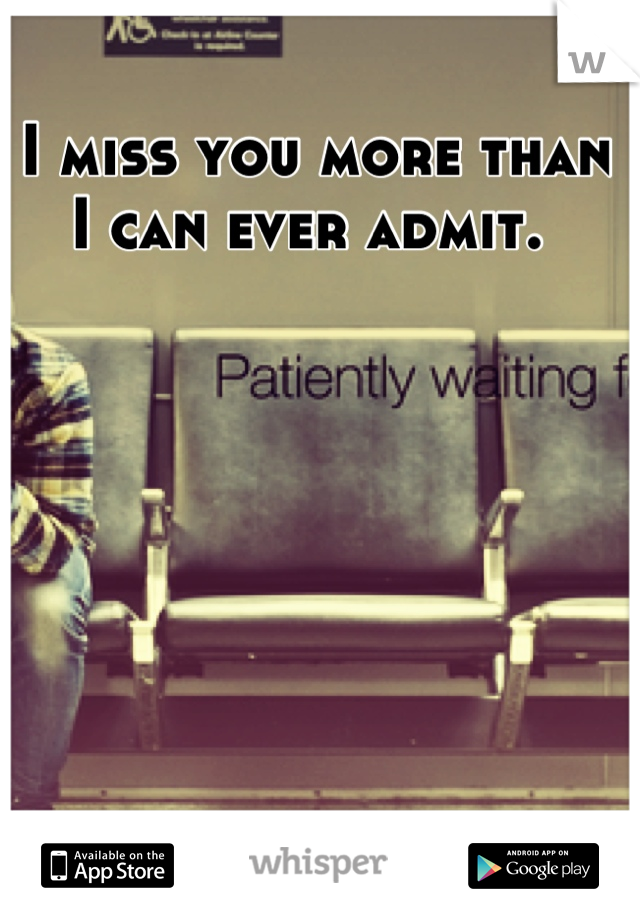 I miss you more than I can ever admit.