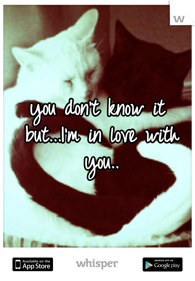 you don't know it but...I'm in love with you..