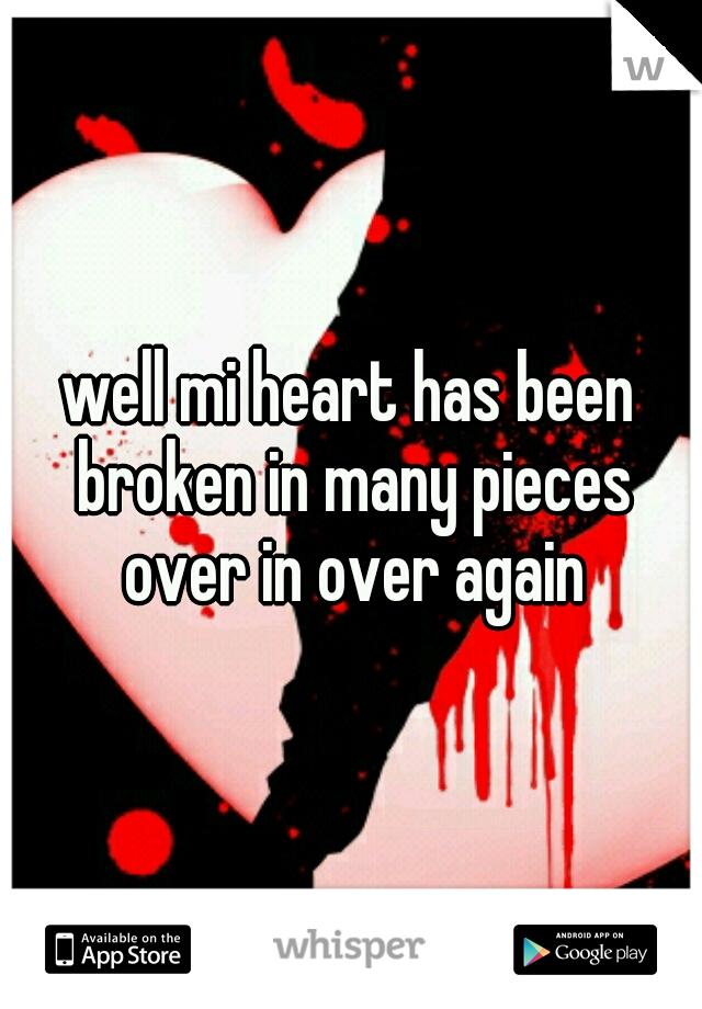 well mi heart has been broken in many pieces over in over again