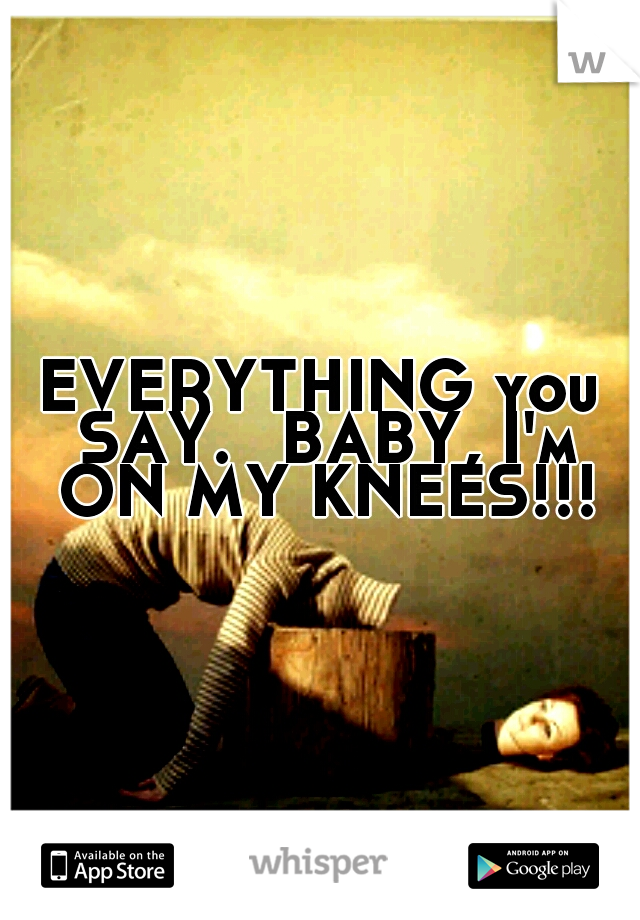 EVERYTHING you SAY.  BABY, I'm ON MY KNEES!!!