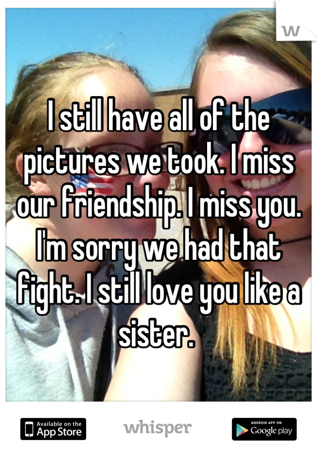 I still have all of the pictures we took. I miss our friendship. I miss you. I'm sorry we had that fight. I still love you like a sister.