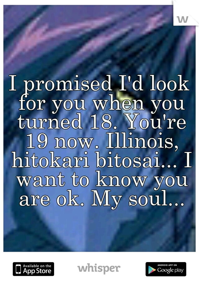 I promised I'd look for you when you turned 18. You're 19 now. Illinois, hitokari bitosai... I want to know you are ok. My soul...
