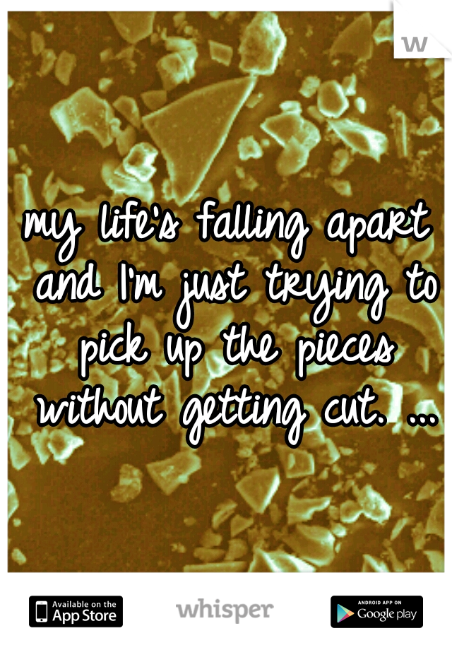 my life's falling apart and I'm just trying to pick up the pieces without getting cut. ...