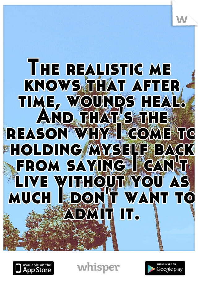 The realistic me knows that after time, wounds heal. And that's the reason why I come to holding myself back from saying I can't live without you as much I don't want to admit it.