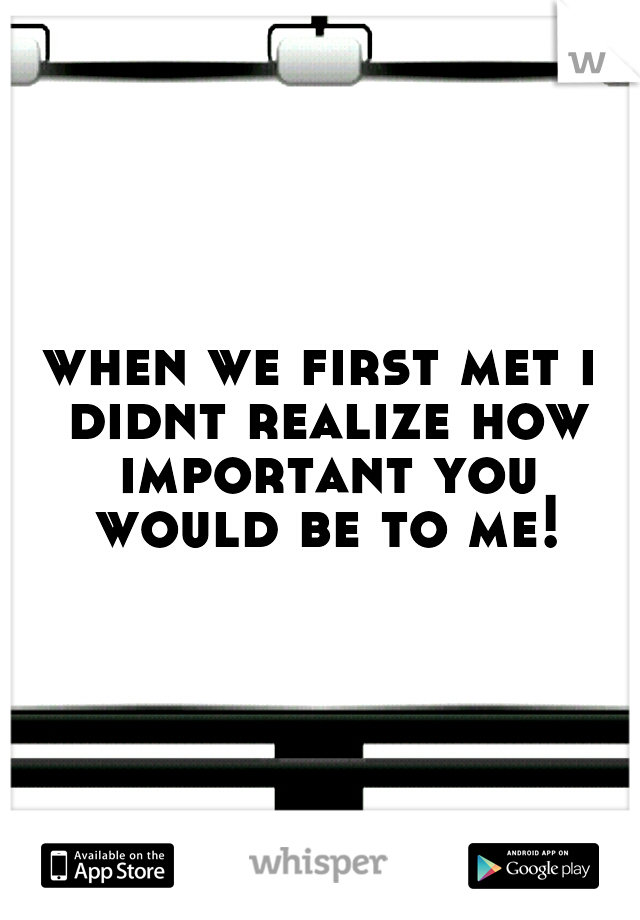 when we first met i didnt realize how important you would be to me!