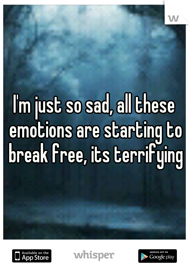 I'm just so sad, all these emotions are starting to break free, its terrifying