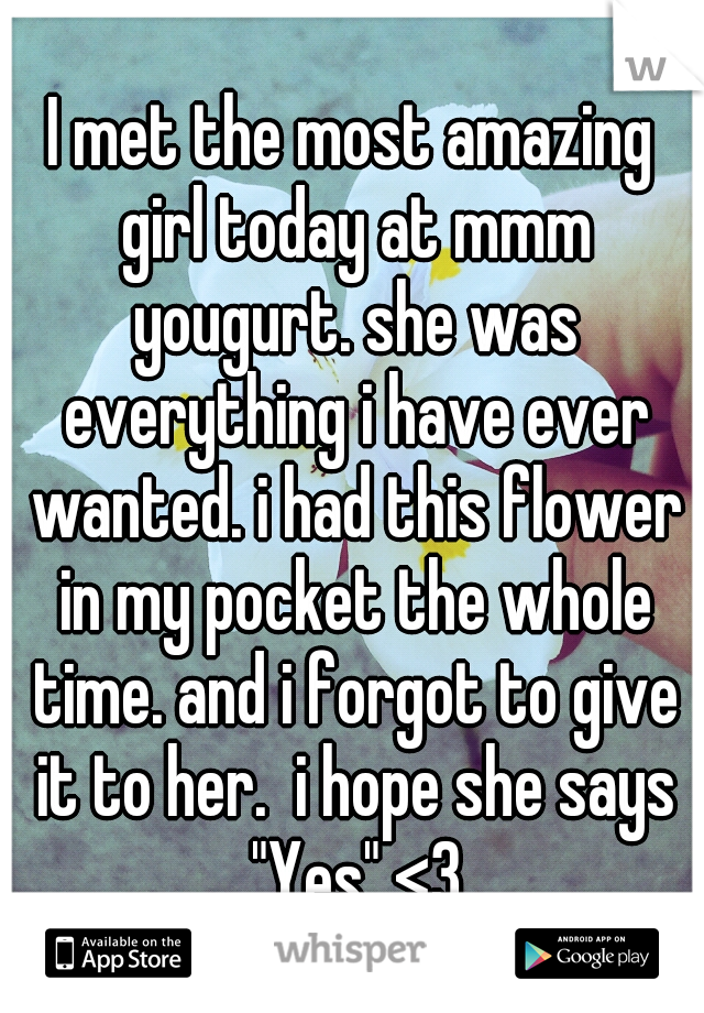 """I met the most amazing girl today at mmm yougurt. she was everything i have ever wanted. i had this flower in my pocket the whole time. and i forgot to give it to her.  i hope she says """"Yes"""" <3"""
