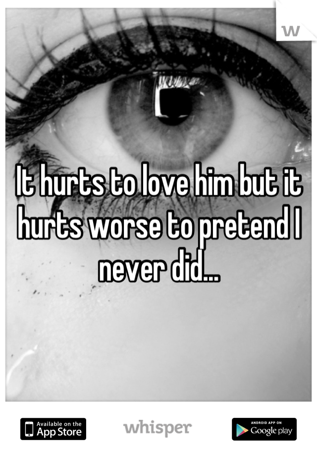 It hurts to love him but it hurts worse to pretend I never did...