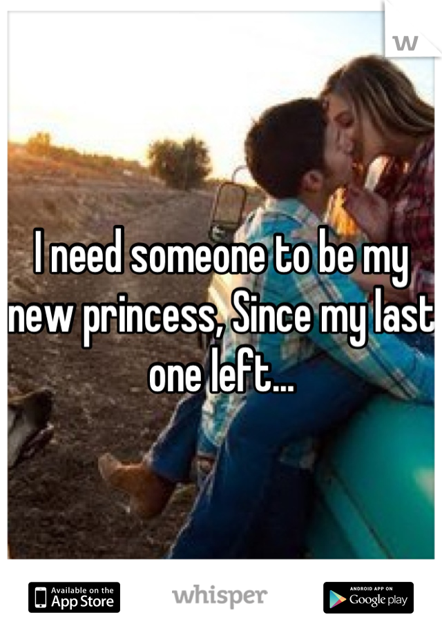 I need someone to be my new princess, Since my last one left...