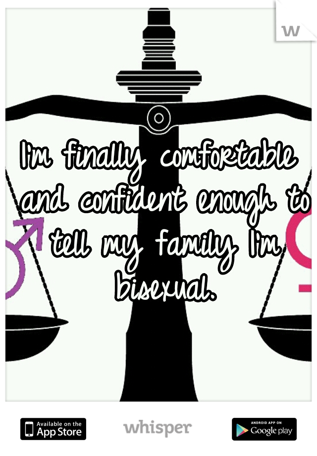 I'm finally comfortable and confident enough to tell my family I'm bisexual.